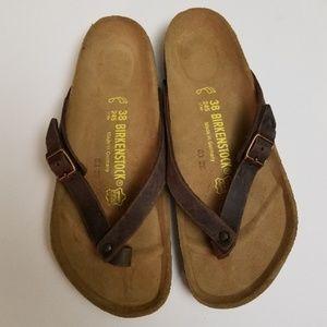 New Birkenstock Adria Leather Flip Flops Rare 38